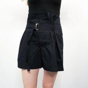 TOTOKAELO Belted Paperbag Waist Black Shorts NWT